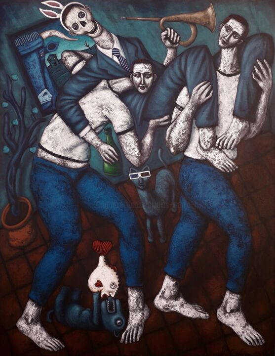 """Painting titled """"Les porteurs"""" by Nicolas Monjo, Original Art, Oil Mounted on Stretcher frame"""