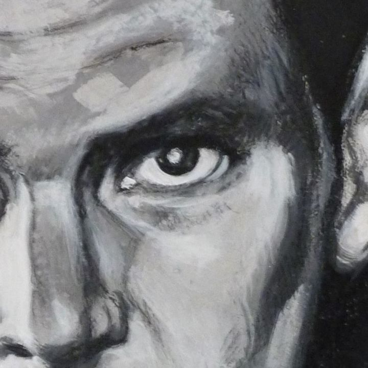 blade runner , eye. - Photography ©2018 by Nicolas Delatronchette -                                                                                                                                                                        Portraiture, Figurative Art, Illustration, Contemporary painting, Realism, Canvas, Cinema, Pop Culture / celebrity, Celebrity, Black and White, Portraits, Science-fiction, harrisson ford, blade runner, film, science fiction