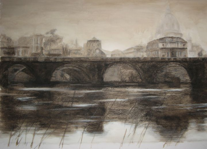 Ponte S.Angelo - Painting,  23.2x31.1 in, ©2014 by Nicole Serres -