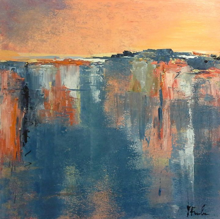 Invisibile città nel caldo dell'estate - Painting,  70x60 cm ©2017 by Nicoletta -                                                            Abstract Art, Canvas, Seascape, arte astratta, arancio, pittura informale, città invisibile