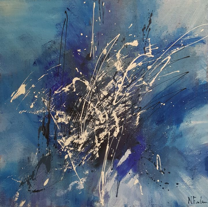 un-tuffo-nell'anima.jpg - Painting,  100x100x5 cm ©2018 by Nicoletta -                                                                        Abstract Art, Canvas, Fabric, Abstract Art, tuffo, anima, blu, immergersi
