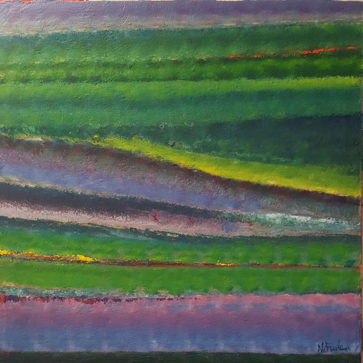 vibrazioni.jpg - Painting,  100x100x2 cm ©2018 by Nicoletta -                                                                        Abstract Art, Canvas, Abstract Art, Landscape, vibrazioni, colore, dinamismo, fluttuazioni