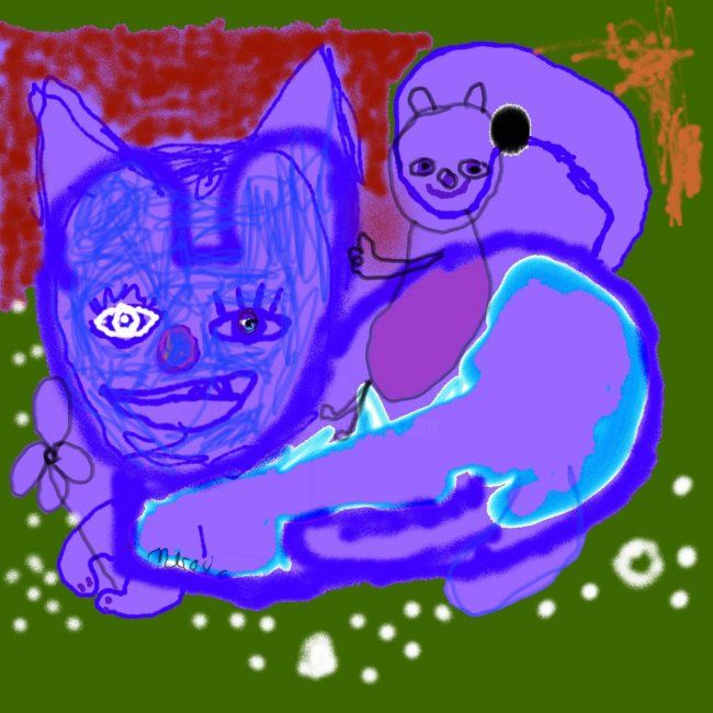 le chat violet - Painting, ©2011 by Nicolas MALAIZE -