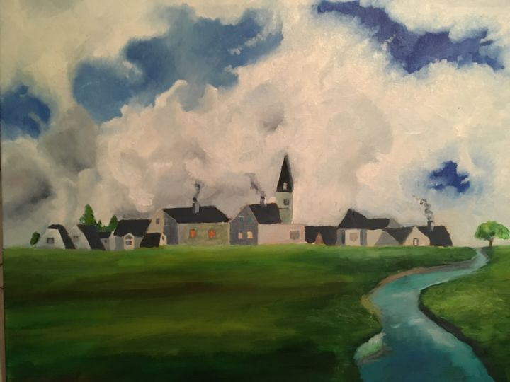 My Town - Painting,  15x18.1x17.9 in, ©2019 by Nigel -                                                                                                                                                                                                                                                                                                                                                                                                          Classicism, classicism-933, Agriculture, village, countryside, lake, clouds, nature