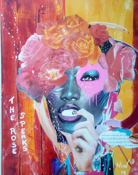 The Rose Speaks - Mixed Media,  50x40 cm ©2019 by NikV -                                                            Street Art (Urban Art), Canvas, Women, canvas, streetart; urbanart, modernart, grace jones, popart, glamour, interieur styling, color, female, flowers, roses