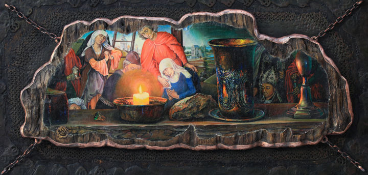 """Painting titled """"Holy Grail"""" by Sergey Lesnikov, Original Art, Oil"""