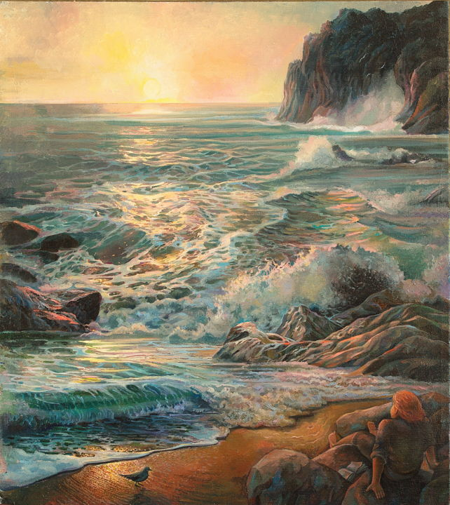 """Painting titled """"Watching the ocean"""" by Sergey Lesnikov, Original Art, Oil"""