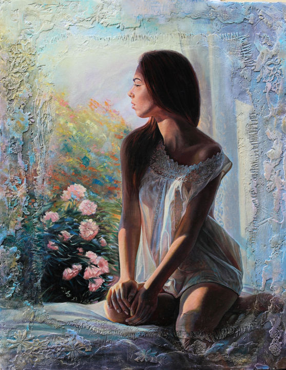 """Painting titled """"Polina"""" by Sergey Lesnikov, Original Art, Oil Mounted on Wood Panel"""