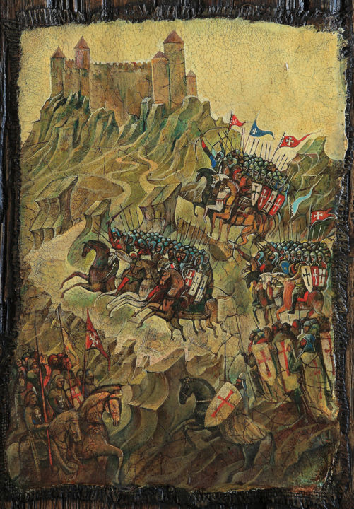 """Painting titled """"The siege of Montse…"""" by Sergey Lesnikov, Original Art, Oil"""