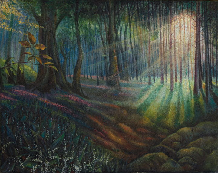 """Painting titled """"Lilies of the valley"""" by Sergey Lesnikov, Original Art, Oil"""