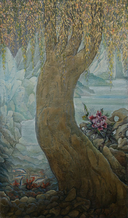 """Painting titled """"Golden willow"""" by Sergey Lesnikov, Original Art, Oil"""