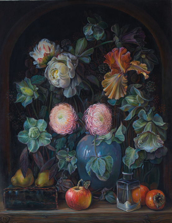 """Painting titled """"Flowers and fruits"""" by Sergey Lesnikov, Original Art, Oil"""
