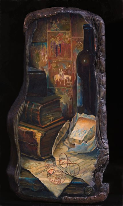 """Painting titled """"The old Templar's s…"""" by Sergey Lesnikov, Original Art, Oil Mounted on Wood Panel"""