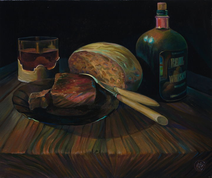 """Painting titled """"""""Real Whisky"""""""" by Sergey Lesnikov, Original Art, Oil"""