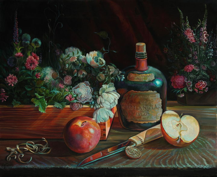 """Painting titled """"Old Silver's flower…"""" by Sergey Lesnikov, Original Art, Oil"""