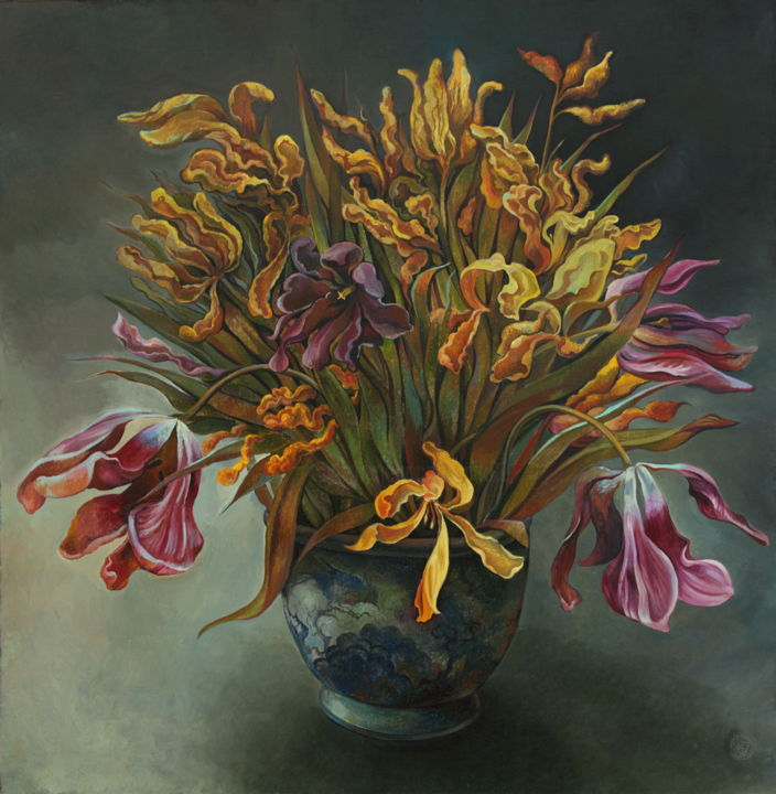Flower Painting, oil, expressionism, artwork by Sergey Lesnikov