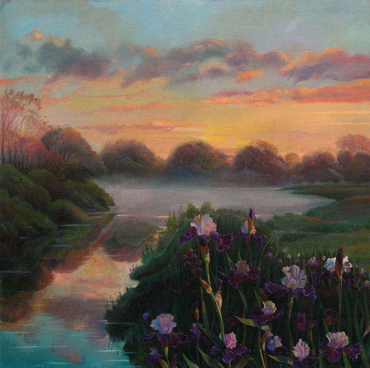 """Painting titled """"In the evening light"""" by Sergey Lesnikov, Original Art, Oil"""