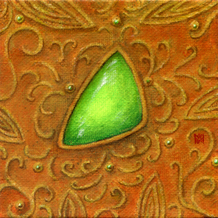 The Jadeite in the filigree - Painting,  3.9x3.9x0.2 in, ©2020 by Ekaterina Nikidis -                                                                                                                                                                                                                                                                                                                                                                                                                                                                                                                                                                                                                                                                                                                                                                                                                                                                  Hyperrealism, hyperrealism-612, Colors, Culture, Fashion, Patterns, Still life, jewellery, jewelry, gold, green, jade, golden background, miniature, miniature painting, ornate, decorative, florid