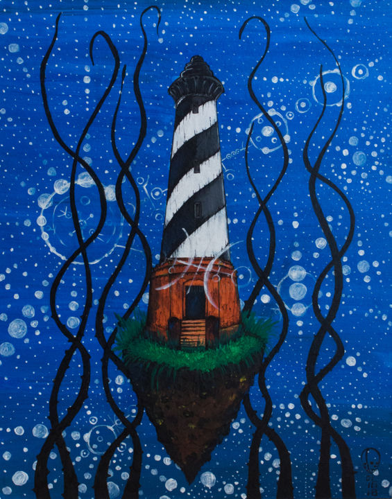 lighthouse - Painting,  50x40x0.3 cm ©2018 by Nikita Nikitin -                                                                                                Art Deco, Art Nouveau, Conceptual Art, Contemporary painting, Canvas, Dark-Fantasy, маяк, lighthouse