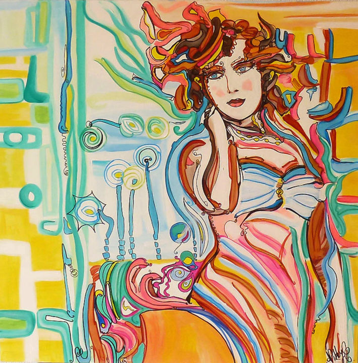 """Painting titled """"Promenade à  Deauvi…"""" by Nikky, Original Art, Acrylic"""