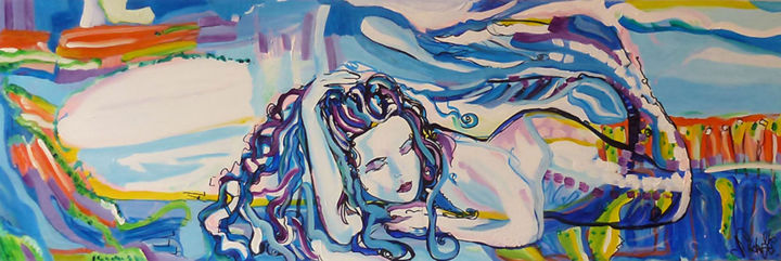 """Painting titled """"Blue Mermaid"""" by Nikky, Original Art, Acrylic"""