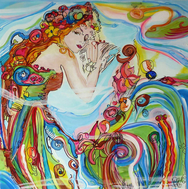 """Painting titled """"Romancelle"""" by Nikky, Original Art, Acrylic"""