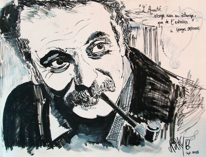 """Painting titled """"Brassens"""" by Nikky, Original Art, Acrylic"""