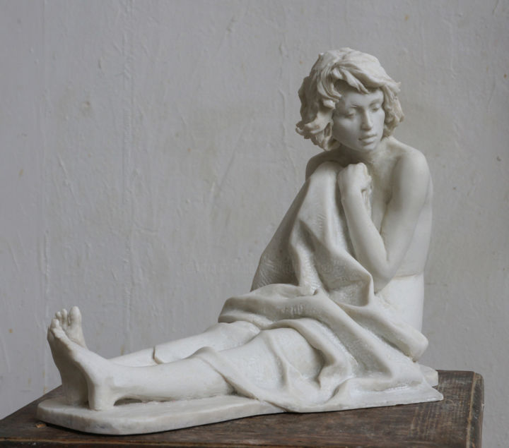 Long lasting morning - Sculpture,  16.9x19.3x7.1 in, ©2019 by Николай Шаталов -                                                                                                                                                                                                                                                                                                                                                                                                                                                                                                                                                                                                                                                                                                                                                                                                                                                                                                                                                                                                                                                  Figurative, figurative-594, Nude, Women, woman, sleep, morning, long, lasting, artificial, marble, bed, plaid, девушка, спит, долгое, утро, искусственный, мрамор, кровать, одеяло, плед