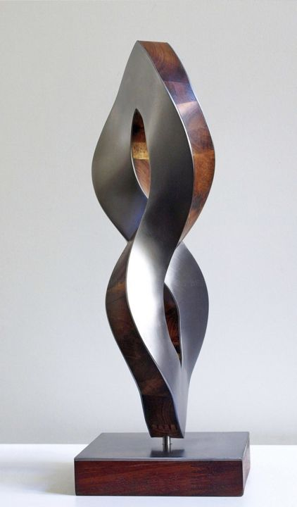 cycla_x - Sculpture,  13x4.7x4.3 in, ©2018 by Nikolaus Weiler -                                                                                                                                                                                                                                                                                                                                                                                                          Abstract, abstract-570, Wood, Metal, Abstract Art, Spirituality, Culture, Time