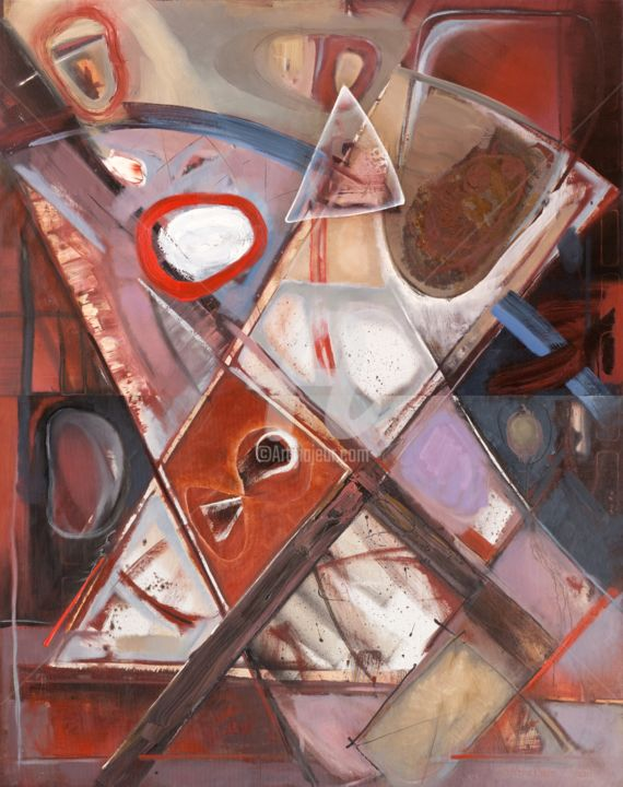 Intersections of Trajectories - Painting,  94.5x75.2 in, ©2001 by Nikolay Krivoshein -                                                                                                                                                                                                                      Abstract, abstract-570, Николай Кривошеин, Nikolajs Krivošeins