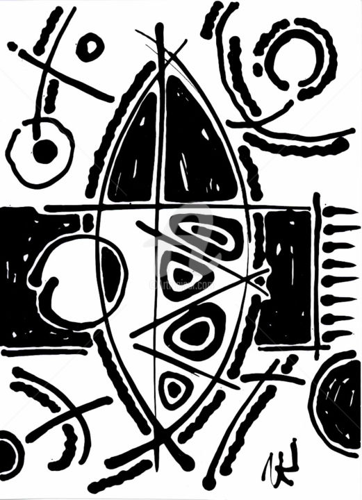 Object on stargazing background. - Drawing,  7.9x5.5 in, ©2011 by Nikolay Krivoshein -                                                                                                                                                                                                      Black and White, object on stargazing background, drawing, abstract painting