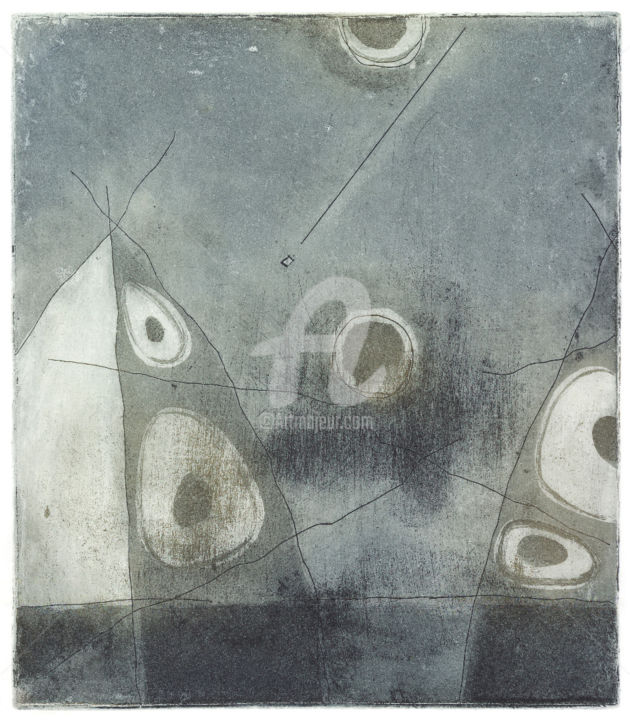 Complicity - Drawing,  8.7x7.5 in, ©2010 by Nikolay Krivoshein -                                                                                                                                                      Etching, aquatint, abstract