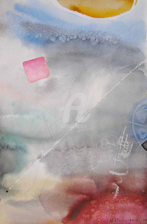 In deepness - Painting,  14.4x9.7 in, ©2009 by Nikolay Krivoshein -                                                                                                                                                                                                                      Abstract, abstract-570, Watercolor on paper, Latvian abstract painting
