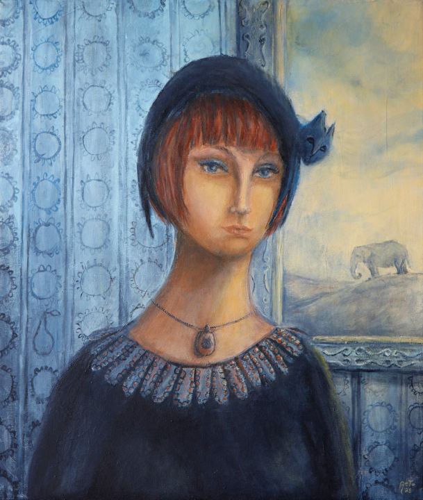 """Painting titled """"The Girl and the Cat"""" by Nikolina Petolas, Original Art, Acrylic"""