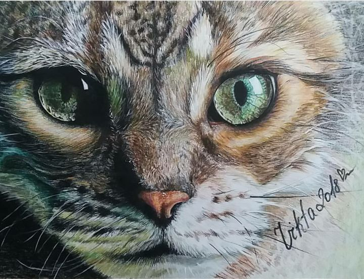 Кошка - Dessin,  15,8x23,6x0,4 in, ©2018 par Виктория Марценюк -                                                                                                                                                                                                                                                                                                                                                                                                                                                      Figurative, figurative-594, Animaux, Chats, #Cat #animals, #art, #pencil, #artpencil, #drow