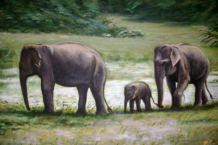 Family Trip - Painting,  30x40x1.5 in ©2018 by Nilantha Vidanarachchi -                                                                    Conceptual Art, Environmental Art, Modernism, Animals, Animal Paintings, Geometric Style, Oil on Canvas, Oil Paintings