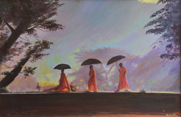 Journey of Faith - Painting,  36x48x1.5 in ©2018 by Nilantha Vidanarachchi -                                                                                Art Deco, Impressionism, Modernism, Culture, World Culture, Cultural Paintings, Cultural Arts, Oil on Canvas, Oil Paintings