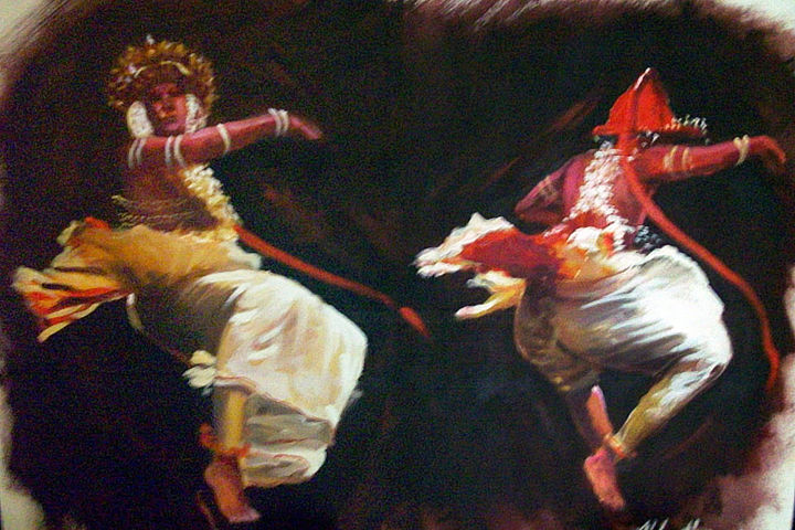 Twin Twirls - Painting,  30x40x1.5 in ©2018 by Nilantha Vidanarachchi -                                                                                Art Deco, Impressionism, Modernism, Culture, World Culture, Cultural Paintings, Cultural Arts, Oil on Canvas, Oil Paintings