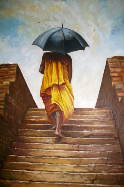 Meditative Climb - © 2018 Cultural Paintings, Cultural Arts, Oil on Canvas, Oil Paintings Online Artworks