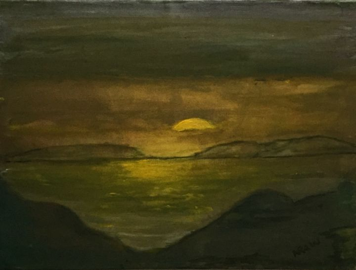 Sun set - Painting,  30x40x2 cm ©2016 by Nilda Raw -                                                            Environmental Art, Canvas, Landscape, mar