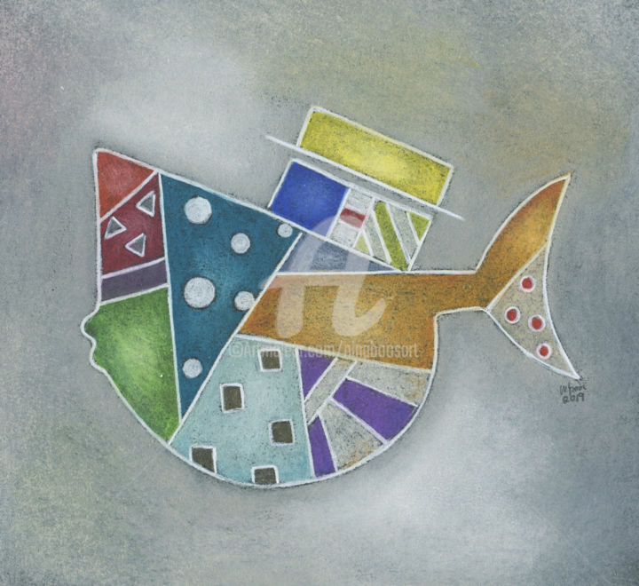 Fischkunst - Drawing,  25x25x3 cm ©2019 by Nina Boos -                                                                                                                                                                        Modernism, Pop Art, Contemporary painting, Paper, Abstract Art, Botanic, Comics, Colors, Fish, Geometric, Humor, Water, Fisch, abstrakt, farben, ninaboosart, bunter fisch, kunst online