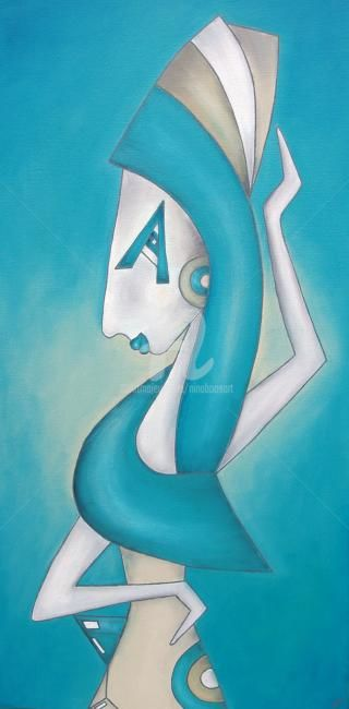 Amy / blau - Painting ©2012 by Nina Boos -                                                                                                                        Figurative Art, Minimalism, Modernism, Contemporary painting, Canvas, People, Mortality, Time, Amy Winehouse, Musik, Wein