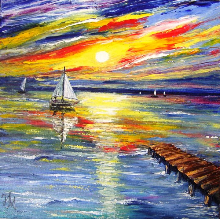 I want to be there /Я хочу быть там, - Painting,  40x40 cm ©2012 by Nina Mitkova -                            Figurative Art, Landscape, sea, boats, sunset