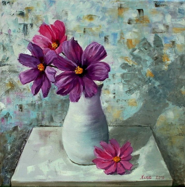 Flowers in a vase painting best painting 2018 cosmos in a vase nina mitkova reviewsmspy