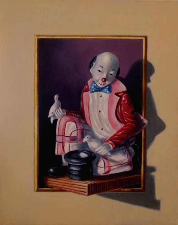 """Painting titled """"He and his Fate"""" by Nino Dobrosavljevic, Original Art, Oil"""