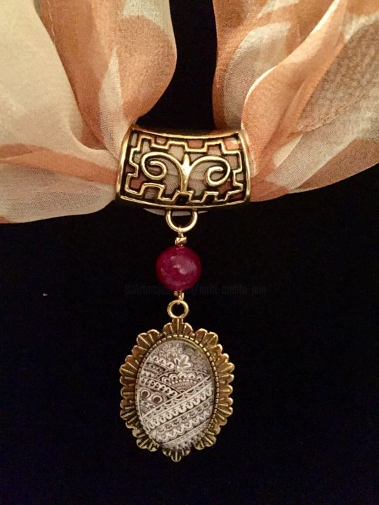 Scarf Pendant Ruby Gold  (without Scarf) - Design ©2017 by Niriti Mehta Jain -