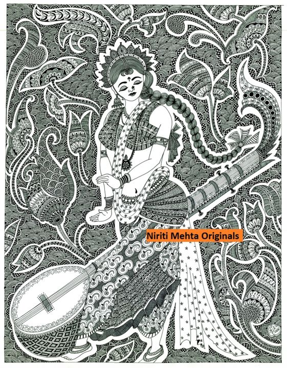 music.jpg - Painting,  70x50 cm ©2013 by Niriti Mehta Jain -            Woman, Indian, Ink