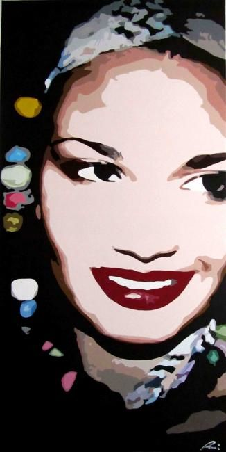 Fede - Painting,  60x120 cm ©2011 by NiRoe -            acrylic painting of a woman portrait