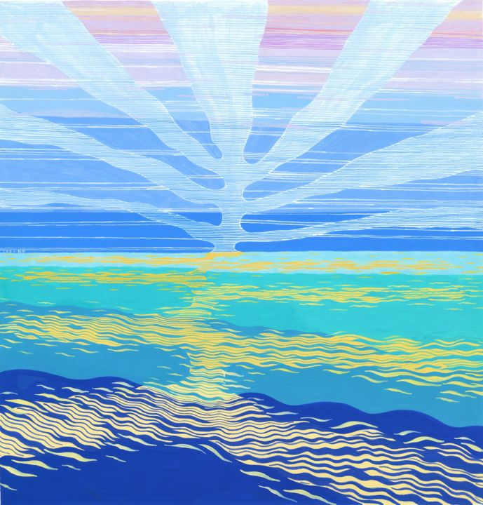 """Painting titled """"SEA AND SKY III"""" by Nives Palmić, Original Art, Gouache"""