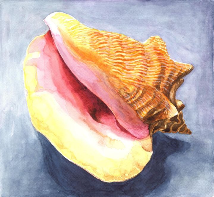 SHELL - Malerei,  9,7x10,6 in, ©2018 von Nives Palmić -                                                                                                                                                                                                                                                                                                                                                                                                                                                                                                                                                                                                                                                                                                                                                                                                                                                                  Illustration, illustration-600, Tiere, Strand, Botanik, Natur, shell, seashell, colorful, natural textures, beauty of shells, indigo, blue and yellow, organic shapes, sea creatures, structural, decorative, art for home